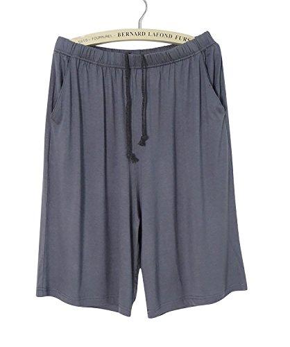Dolamen Herren Schlafanzughose Hose Shorts kurz, Modal Baumwolle unterwäsche boxershorts Nachtwäsche Trunk Pyjamahose verstellbarem Elastik-Bund Taschen Schlafen Freizeit Tiefgrau
