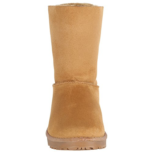 Damen Schlupfstiefel Warm Gefütterte Stiefel Schleifen Ketten Nieten Print Schuhe Blumen Pailletten Winter Boots Flandell Hellbraun Autol