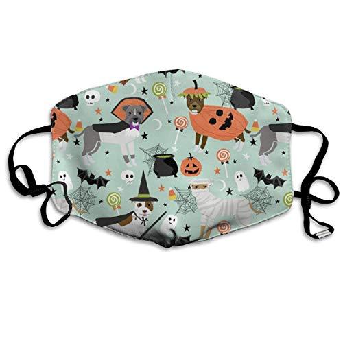 Pitbull Halloween-Kostüm Hund süße Hunde im Kostüm Halloween Design Candy Corn, Süßigkeiten Lustiges Haustier Mint Anti Staub Maske Anti-Verschmutzung waschbar Wiederverwendbar Mundschutz - Süße Candy Bar Kostüm