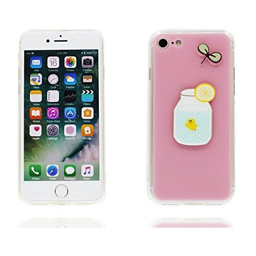 Custodia iPhone 7 Plus , Case TPU 3D Durable Cute Shockproof Copertura per iPhone 7 Plus ( 5.5 ) Cover Shell Soft TPU / fragola Limone (rosa ) rosa