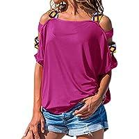 Luckycat Blusa de Manga Corta de Hombro Casual de Mujer de Manga Corta Blusa Suelta
