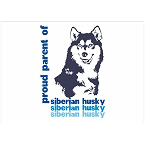 Teeburon Proud parent of a Siberian Husky Sticker Pacchetto di 4 - Siberian Husky Adesivo