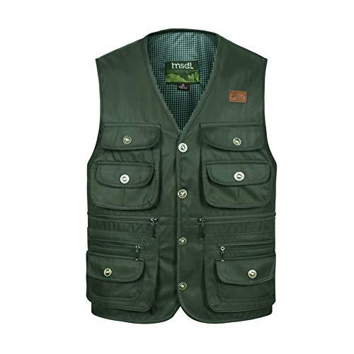 Ysagnzq mens multi pocket ves - giacca da pesca giacca top per caccia escursionismo multifunzione outdoor reporter traspirante giacca da alpinismo,green,xxxxl