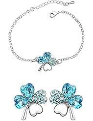 Pulsera y pendientes set-clover-crystal-aquamarine