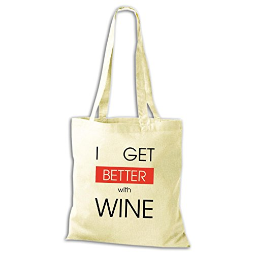 Shirtastic Baumwolltasche Jutebeutel I Get Better With Wine Wein Spaß Lustig Fun Stoffbeutel Natur