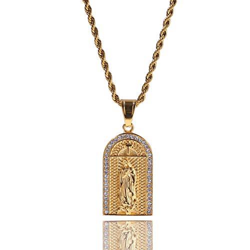 Herren Hip Hop Kette religiöses Kreuz Schrift Medaille Jungfrau Maria Anhänger Halskette Ice Out Strass Schmuck Geschenk - Maria Von Medaillen