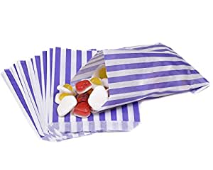 100 Purple Candy Stripe Paper Bags 5 x 7 Inches