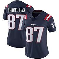 Patriotas de Nueva Inglaterra Rugby Jersey # 87 Gronkowski Tech Transpirable Jersey Vestido la Camiseta de Rugby Traje for la Mujer (Color : Black A, Size : L)