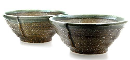Goto Cuencos cerámica Japonesa amonita marrón Verde
