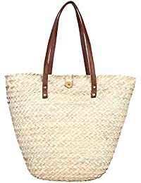 HabereIndia Girl's Palm Leaf Handbag (Beige)