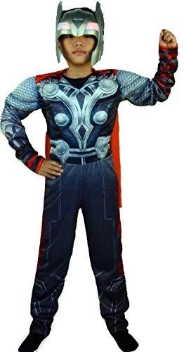 (PICCOLI MONELLI Kostüm Thor Kinder Super Eroi Kleid Karneval Warm mit Muskeln 4-6 anni Altezza Bimbo 110-120 grau)