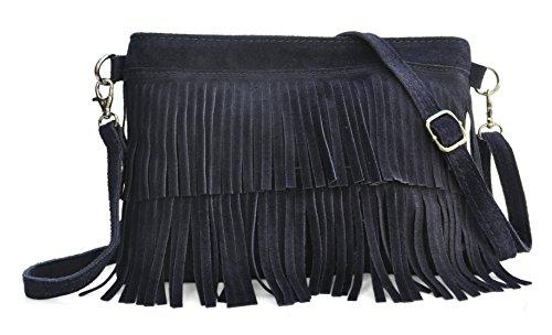 Lae In - Sac Pochette Franges - Cuir Veau Velours - 16 (H) x 23 (l) x 1 (E) cm - Style Bohème chic ou Gipsy - Fabriqué en Italie