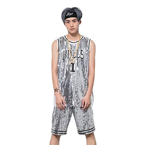 Männer und Frauen Graffiti Ärmelloses Kleid Ds Hip Hop Jazz Kostüm Street Dance Stier Pailletten Basketball Weste T-Shirt Große