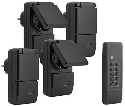 mumbi 24280 Funksteckdosen-Set Outdoor (spritzwassergeschützt, IP44), 4x Funksteckdose + 1x Fernbedienung, 1100 Watt, Schwarz