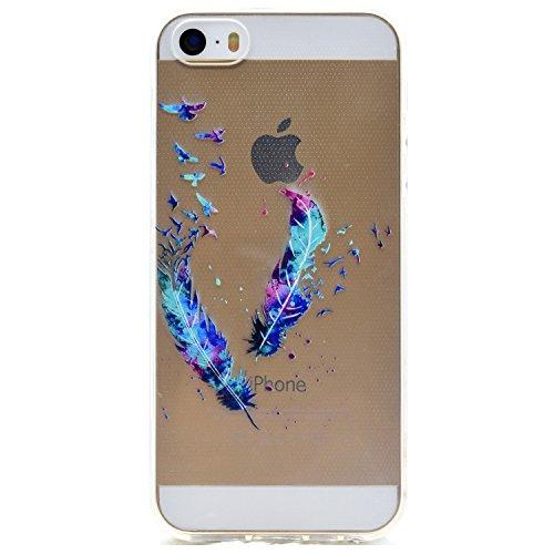 iphone 5s traumfänger hülle, LuckyW TPU Handyhülle für Apple iPhone 5 5S SE Soft Silikon Tasche Transparent Schale Clear Klar Hanytasche Durchsichtig Rückschale Ultra Slim Thin Dünne Schutzhülle Weich Feder