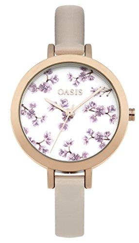 oasis–reloj de cuarzo para mujer con esfera analógica blanca y correa de poliuretano bronce b1578
