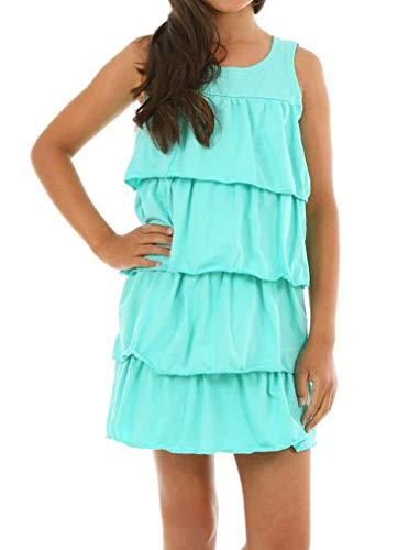 Dykmod Mädchen Kleid Falten Frühling Sommer hk342 Minze 140-146 (Mädchen Frühling Kleider)