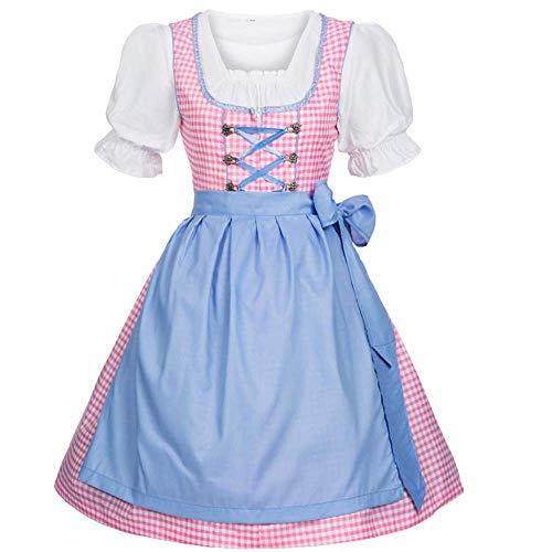 (CLUBCORSETS® Ladies German Knee Length Gingham Beer Oktoberfest Womens Fancy Dress Costume (X-Large, Pastel Pink))