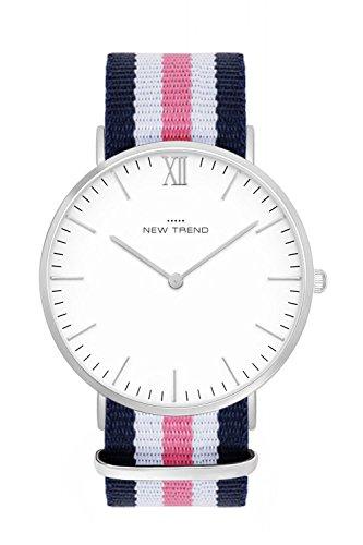 New Trend - Love for Accessories Damen Uhr analog Quarzwerk mit Nylon-Armband 85-O3A1-TW75