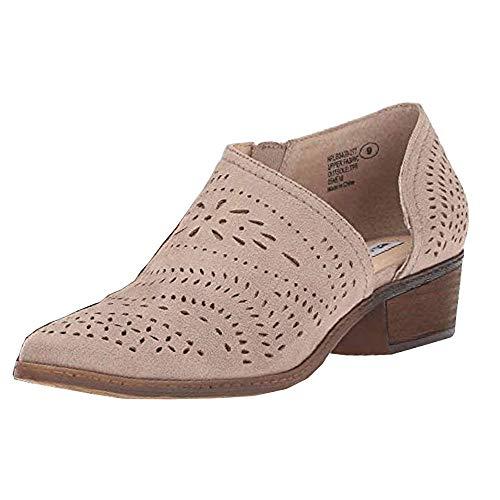 Botas Mujer Tacón Bajo Chunky Botines Slip on Verano Zapatos Hueco Moda Casual Plataforma 3cm Chukka Botín Beige EU35