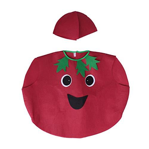 (Kinder Obst Gemüse Kostüm Kit Nette Tomate Performance Kostüme Kleidung und Hut Stoff Outfit Dress Up Zubehör (Rot))