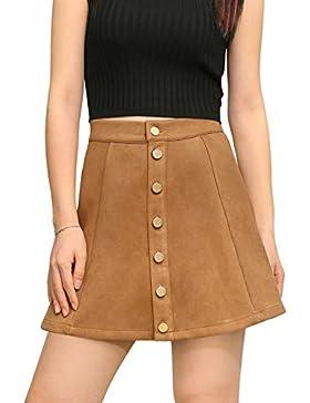Allegra K Mujer Encolado Ante Botón Cierre Front Talle Medio falda en A
