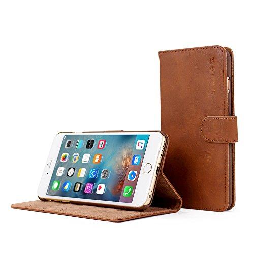 Rose Distressed-leder (Snugg Schutzhülle für iPhone 6 Plus, braun, Leder, hochwertige Handytasche zum Aufklappen mit Kartenfächern)