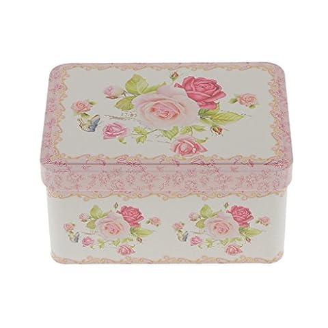 MagiDeal Blume Design , Metall Aufbewahrungsbox für Zucker Kaffee Tee Schmuck Geschenk Dose Box Container Organzier - Blume #3