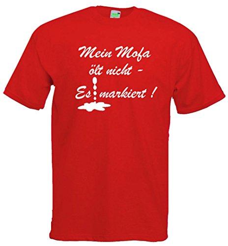 Moped T-Shirt | Mein Mofa ölt nicht - es markiert! Rot