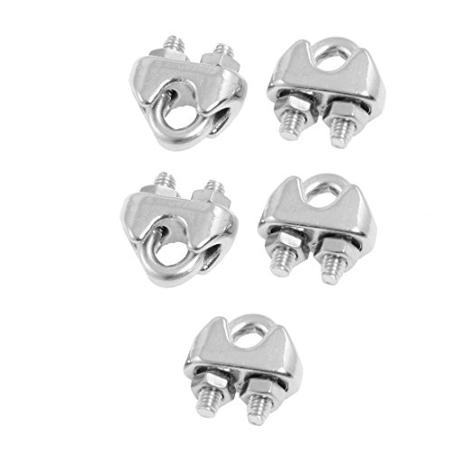"Sonline 5 Pcs 304 Stainless Steel Saddle Clamp Cable Clip for 3/25"" 3mm Wire Rope Test"