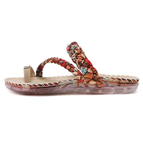 YoungSoul Sandales plates tressées à entredoigt - Chaussure de plage dété - Tongs à ornements de strass - Sandales bout ouverte femme Abricot