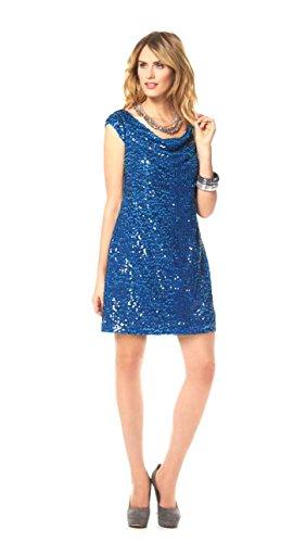 Marc New York Damen Kleid Pailletten Kleid Cocktail Kleid mit Wasserfallausschnitt blau (36) - 3