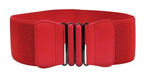 WODISON Damen Leder Breite Elastischer Taillengürtel Vintage Schnalle Gürtel