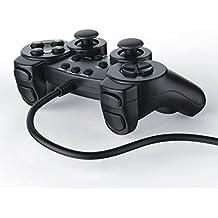 CSL - Gamepad / controlador de mando para PlayStation 2 / PS2 con doble vibración | negro
