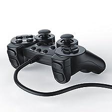 CSL - Gamepad / controlador de mando para PlayStation 2 / PS2 con doble vibración   negro