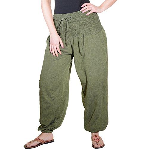 Kunst und Magie Damen Pluderhose Haremshose Sommerhose Hippie Goa Wellness Yoga, Größe:38-42(L/XL), Farbe:Army Green