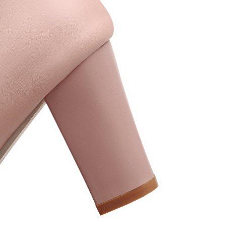 VogueZone009 Damen Schnalle Pu Leder Rund Zehe Hoher Absatz Rein Pumps Schuhe Pink