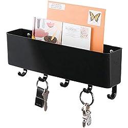 mDesign Organizer scrivania - Portapenne da scrivania per la cameretta e L'Ufficio - Piccolo portaoggetti per gomme, graffette, Penne, ECC. - Nero