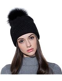 Ferand - Bonnet Laine Tricotée avec Strass à Pompon Detachable en Fourrure Raccoon Véritable Hiver - Femme