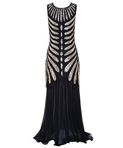 ahre Prom Fransen Pailletten Lange Flapper brüllen Gatsby Kleid für Charme Prom Party inspiriert Cocktail Flapper Kleid,BlackGold,M ()
