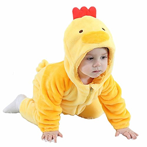 Cute Chicken Easter Unisex Baby's Winter Flannel Pajamas Suit Cosplay Costume Animal Romper Onesie Outwear Sleepwear Nightwear Outfits