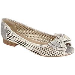 SAPHIR BOUTIQUE Damen Peeptoe Niedriger Absatz Pumps Schuhe Damen Schleife Front Sommer Schuhe - grau, 7 UK