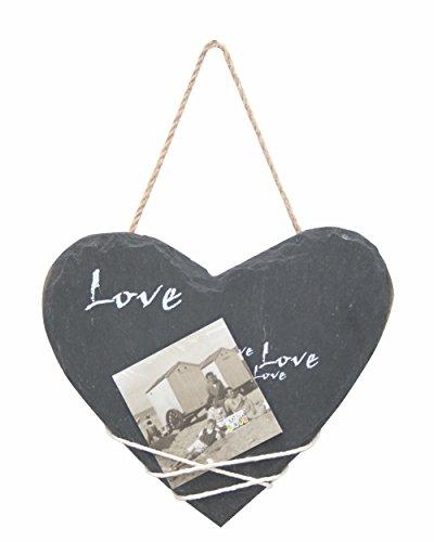 Deknudt Frames S67TE2 Cadre Photo Pendentif Ardoise en Forme de Coeur 19.5x16.5cm, Céramique, Gris, 13 x 18 cm