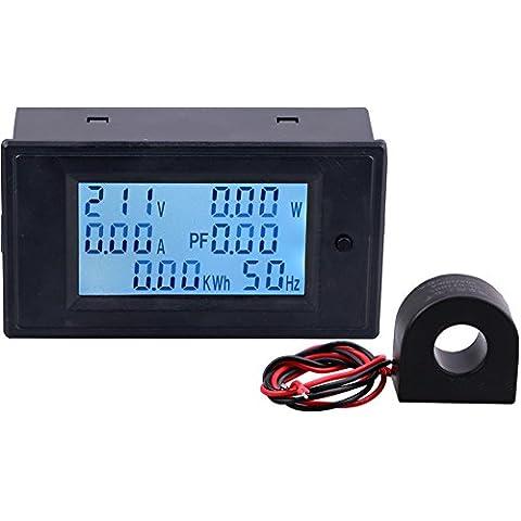 Yeeco Digitale Multimetro AC 110-250V 100A Tensione Amperaggio Energy Power Meter AC Volt Amp Tester Gauge Monitor Digital Display LCD Volt di Misura Corrente con Retroilluminazione Blu Interruttore Pulsante & Trasformatore