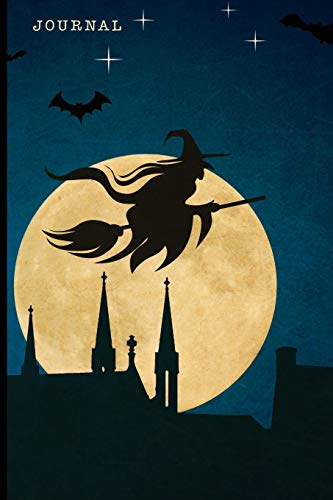 Journal: Full Moon Witch and Broom with Haunted Castle | 128 College Ruled Pages: 6 x 9 in Blank Lined Journal with Soft Matte Cover | Notebook, ... school, students, homeschool and teachers
