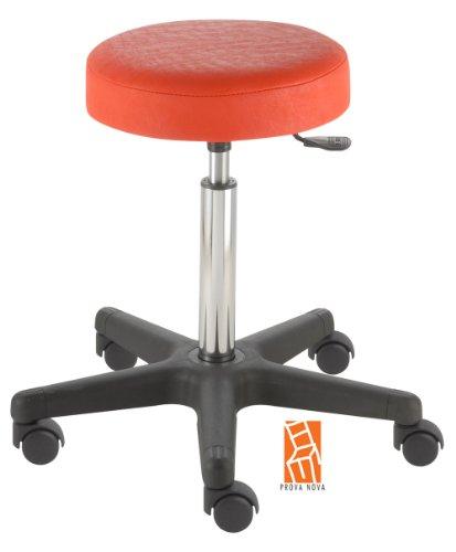 Arbeitshocker, Arzthocker, Drehhocker, Rollhocker Modell comfort, Hubbereich ca. 54 -73 cm, Rollen mit harter Radbandage. Ideal geeignet für weiche Böden wie z.B. Teppich. Sitzfarbe feuer-rot
