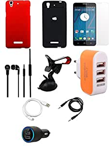 NIROSHA Tempered Glass Screen Guard Cover Case Car Charger Headphone USB Cable Mobile Holder Charger car Combo for YU Yureka Combo