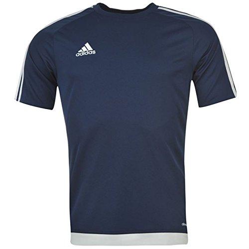 Adidas Estro Herren T-Shirt, 3Streifen, mit kurzen Ärmeln, Climalite Small Dunkelblau / Weiß