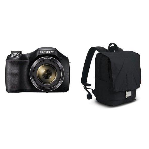 "Sony DSC-H300 - Cámara compacta de 20.1 MP (pantalla de 3"", zoom óptico 35x, vídeo HD 720p), negro + Manfrotto Bravo 30 - Mochila para cámara DLSR o mirrorless (31 cm x 36,5 cm x 17,5 cm), negro"