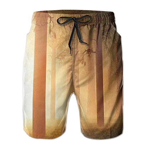 MIOMIOK Mens Beach Shorts Swim Trunks,Foggy Mist Hazy Jungle with Sun Beams and Rays Spiritual Woodland Spiritual Nature Design Tan_2,Summer Cool Quick Dry Board Shorts Bathing Suit XXL